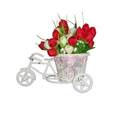 Cycle Shape Vase with Flower Bunch