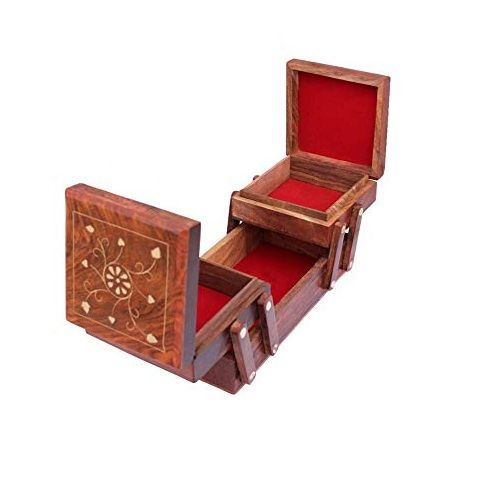 Jewelry Box Wooden and Leather Mirrored