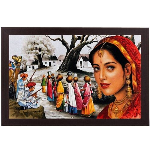 Rajasthani Village Textured Painting